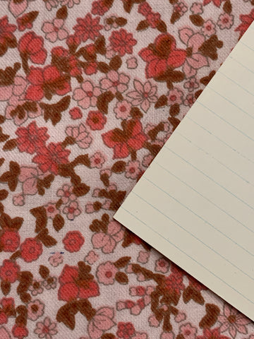 1/2m LEFT: 1960s brushed cotton with retro pink floral on very pale pink