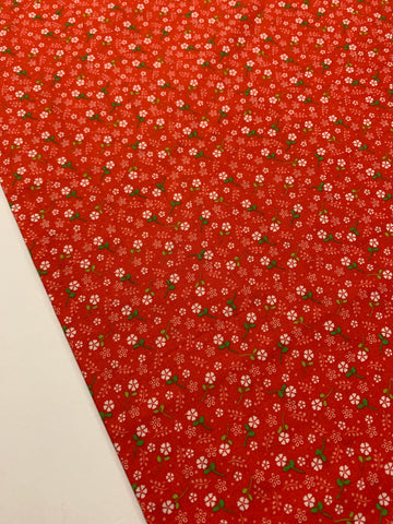 LAST PIECE: 1990s? light weight cotton w/ red base and tiny white flowers