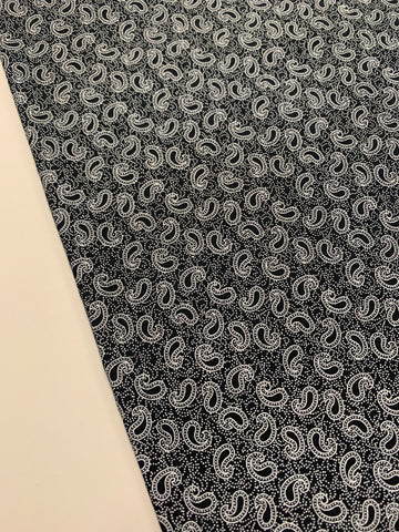 LESS THAN 1m LEFT: white paisley on black print cotton poplin