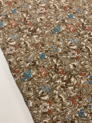3.5m LEFT: vintage 1980s muted floral on cotton light weight twill