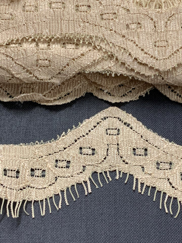 21 PIECES LEFT: 2cm x 140cm lingerie? ecru nylon scalloped lace trim