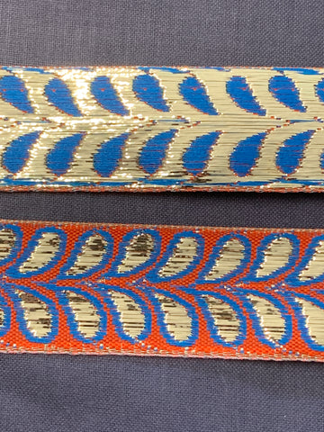 3m LEFT: magnificent vintage 1960s 70s metallic braid trim w/ leaves on red