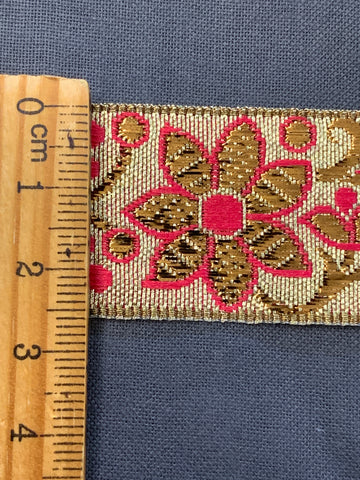 6m LEFT: magnificent vintage 1960s 70s metallic braid trim w/ flowers in gold & pink on silver