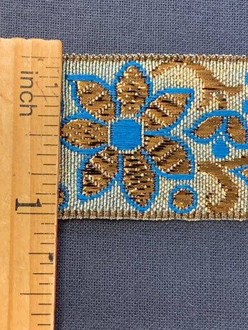 7m LEFT: magnificent vintage 1960s 70s metallic braid trim w/ flowers in gold & blue on silver