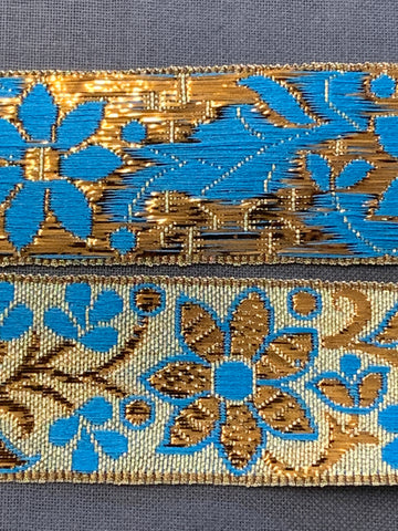 6m LEFT: magnificent vintage 1960s 70s metallic braid trim w/ flowers in gold & blue on silver