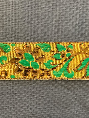5m LEFT: magnificent vintage 1960s 70s metallic braid trim w/ flowers in gold & green on gold