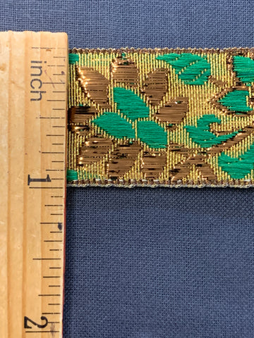6m LEFT: magnificent vintage 1960s 70s metallic braid trim w/ flowers in gold & green on gold