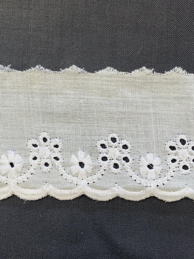 8m LEFT: vintage light cotton broderie anglaise wide trim w/ scalloped edge