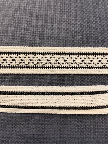 6m LEFT: 1960s woven black and white trim 1.5cm high