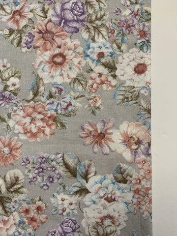 1/2m LEFT: Vintage 1970s cotton w/grey base & country floral