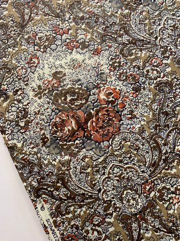 1m LEFT: Vintage 1970s Schwartz-Liebman cotton w/ brown flowers & paisleys