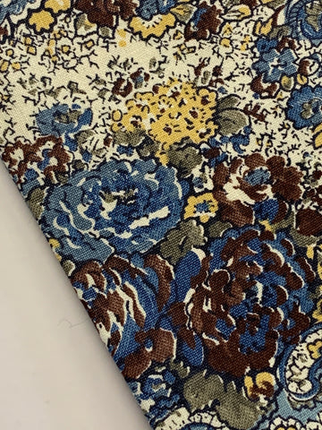 2.5m LEFT: Vintage 1970s Schwartz-Liebman cotton w/ blue flowers & paisleys