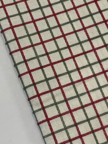 2m LEFT: 80s? 90s? country green & marone check on white cotton sheeting