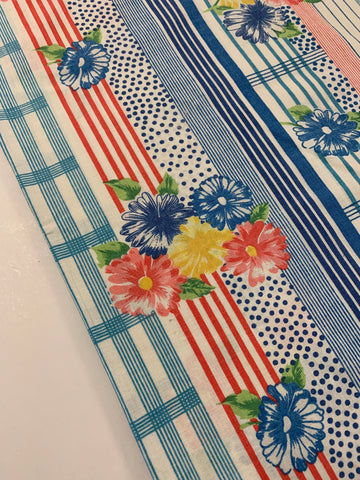 2m LEFT: Vintage 1960s retro cotton sheeting with stripes and flowers