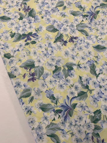 LESS THAN 1.5m LEFT: Vintage 1980s Sheridan cotton sheeting in yellows and greens