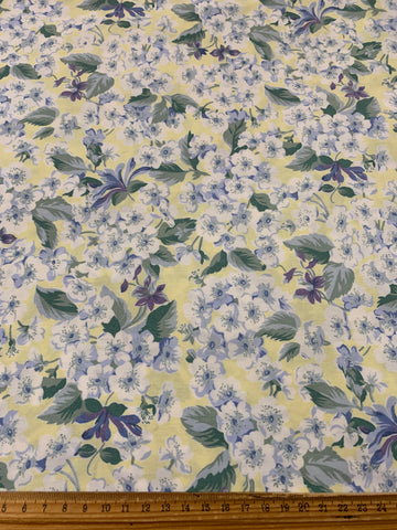 2m LEFT: Vintage 1980s Sheridan cotton sheeting in yellows and greens