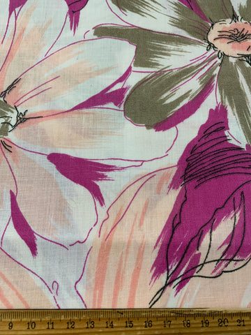 2m LEFT: Vintage 1980s cotton blend sheeting with large pink & grey floral