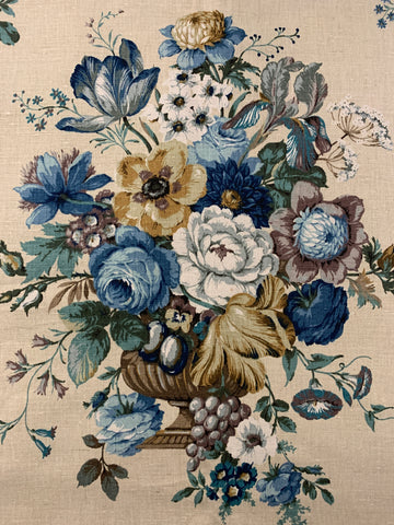LESS THAN 3m LEFT: Beautiful blue floral arrangement in vase Sanderson linen blend