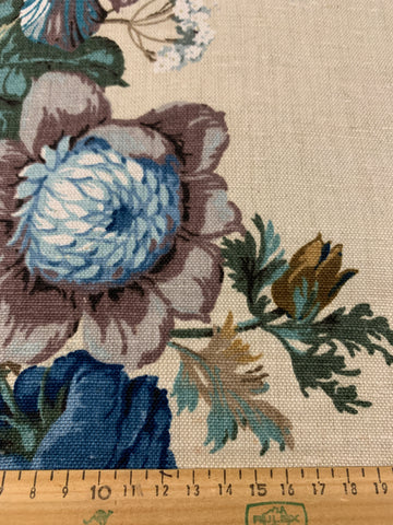 TWO PATTERN REPEATS LEFT: Beautiful blue floral arrangement in vase Sanderson linen blend