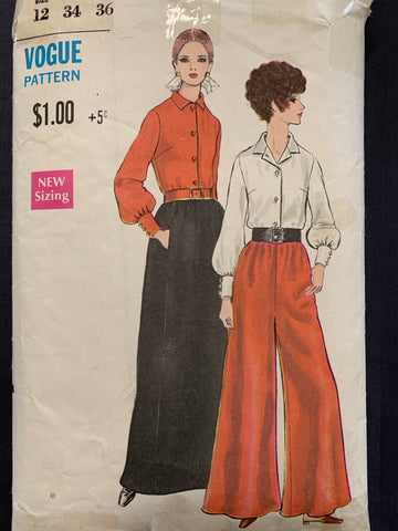 "PANTSKIRT, SKIRT & BLOUSE: Vogue 1960s size 12 bust 34"" *7384"