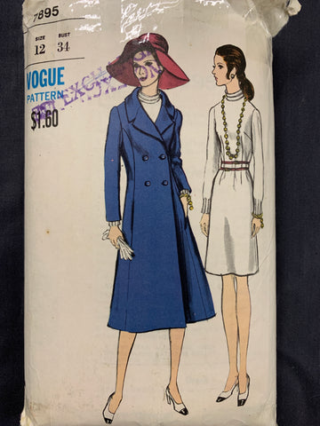 "ONE-PIECE DRESS & COAT: Vogue 1960s size 12 bust 34"" *7895"