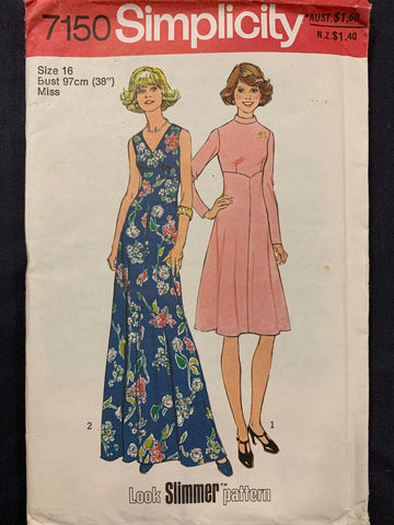 DRESS IN TWO LENGTHS: Simplicity 1975 size 16 factory folded *7150