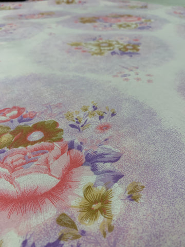 8m LEFT: Pretty as a picture 1960s purple pink floral cotton sheeting