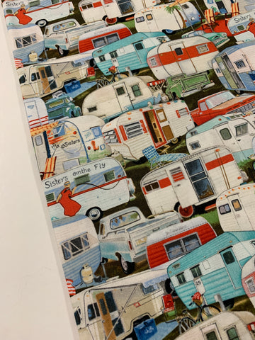 1.5m LEFT: Vintage Trailer Paige Bridges for Elizabeth's Studio quilt cotton