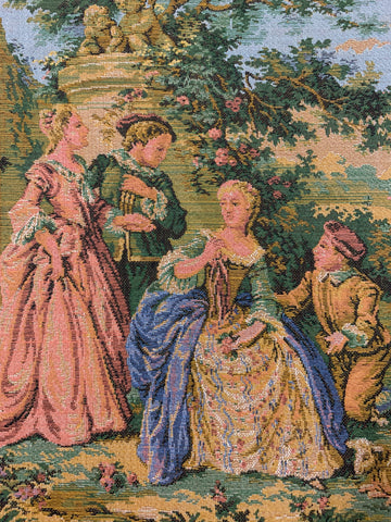 "FOUR LEFT: Magnificent vintage French tapestry square courting scene 10"" x 10"" (25cm x 25cm)"