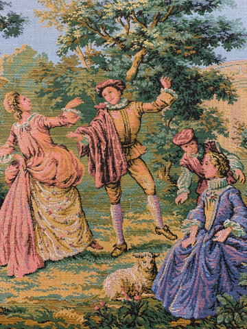 "FOUR LEFT: Magnificent vintage French tapestry square couple dancing 10"" x 10"" (25cm x 25cm)"