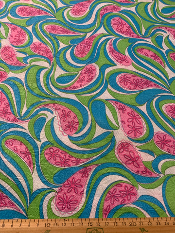LESS THAN 5m LEFT: Magnificent 1960s wild trippy floral embossed cotton