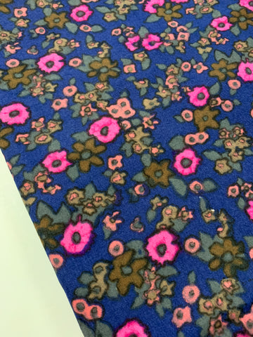 2.5m LEFT: luxe heavier brushed cotton w/ deep blue base and retro floral