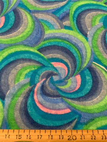 2.5m LEFT: Pure psychedelic swirls 1960s brushed cotton