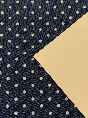 1m LEFT: Modern light weight cotton demin with sweet white polka dot