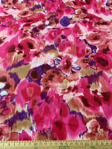 1m LEFT: Modern cotton blend with slight width stretch watercolour floral