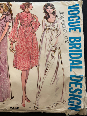 "BRIDAL DRESS: Vogue Bridal Design vintage 1971 size 12 bust 34"" *2448"