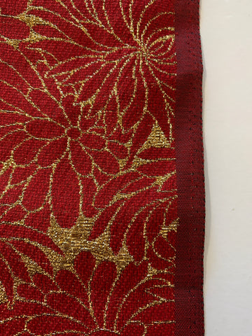 1.5m LEFT: Striking gold metaliic thread woven with deep red rayon