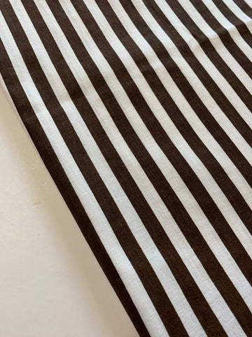 THREE LEFT: Chocolate brown stripe 1980s cotton pillow case 68cm x 46cm