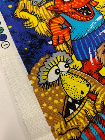 TWO PATTERN REPEATS LEFT: Monsters on the Move Michael Salmon 1993 kiddies cotton