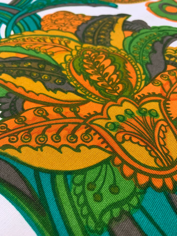 LESS THAN 1.5m LEFT: Magnificent 1970s retro giant paisley cotton drill