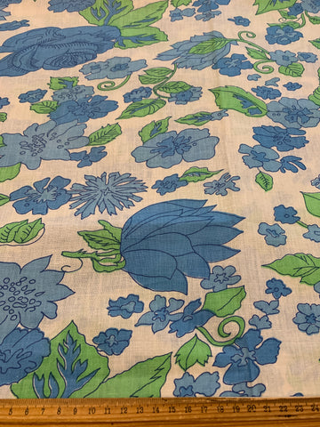 LESS THAN 2m LEFT: pure retro 1970s cotton sheeting