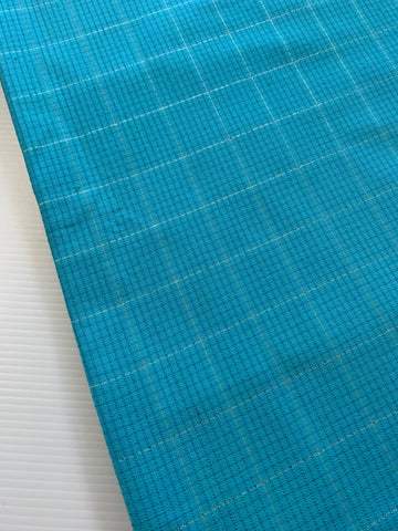 3m LEFT: Kitsch 1970s light weight blue cotton w/ lurex thread
