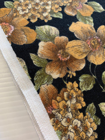 2m LEFT: Country floral on dramatic black base cotton