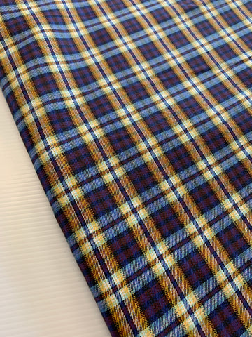 4.5m LEFT: Vintage 1970s blues pinks yellows cotton woven check