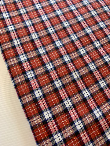 .5m LEFT: Vintage 1970s reds blues white cotton woven check