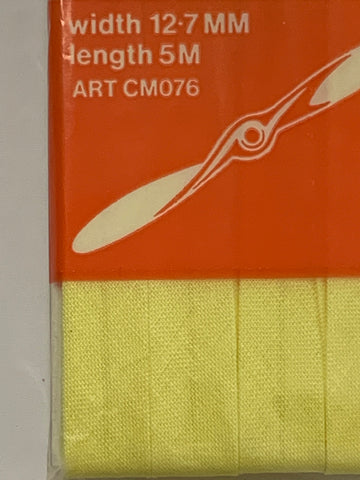 TWO PACKETS LEFT: Coats Propeller Bias Binding cotton lemon 5m
