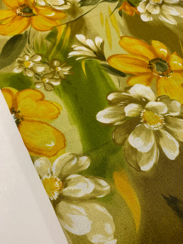 4m LEFT: Vintage 1970s bright tropical floral HTL Hawaiian Textiles cotton