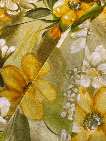 LESS THAN 2m LEFT: Vintage 1970s bright tropical floral HTL Hawaiian Textiles cotton