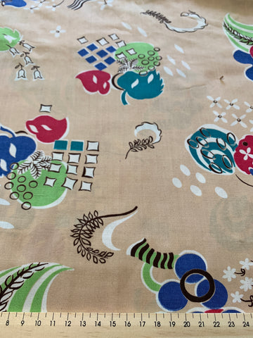 1.5m LEFT: 1950s mid-century floppy rayon w/ abstract landscape cameos