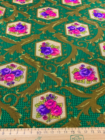 ONE ONLY: Pure retro flower power 1960s slinky polyester tricot w/ scrolls and cameos